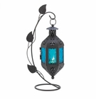 Sapphire Bloom Stand Candle Lantern