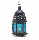 Blue Glass Moroccan Style Candle Lantern