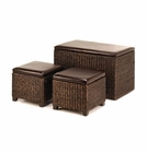 Rush Grass Storage Chest & Ottomans Set
