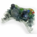 XCM Xbox 360 Wireless Control Pad Shell w/New D-Pad - Crystal/Green LED