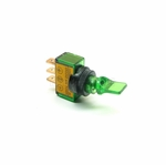 Illuminated Mini Duckbill Toggle Switch (12v)- Green