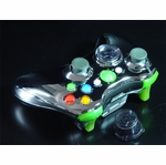 XCM Xbox 360 Wireless Control Pad Shell w/New D-Pad - Chrome/Green LED