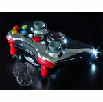 XCM Xbox 360 Wireless Control Pad Shell w/New D-Pad - Chrome/Red LED