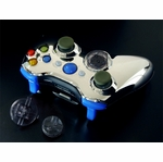 XCM Xbox 360 Wireless Control Pad Shell w/New D-Pad - Chrome/Blue LED