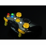 XCM Xbox 360 Wireless Controller Shell w/ New D-Pad & 2 LED Sticks - Chrome w/ Yellow LEDs