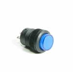 Illuminated Round Latching Push Switch - Blue
