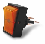 Illuminated Mini Rectangle Rocker Switch - Amber