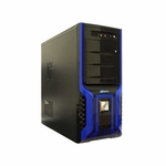 Logisys 368 SOHO Black w/ Blue Stripes Mid Tower Case w/480W Power Supply