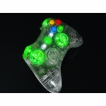 XCM Xbox 360 Wireless Controller Shell w/ New D-Pad & 2 LED Sticks - Crystal w/ Green LEDs