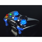 XCM Xbox 360 Wireless Controller Shell w/ New D-Pad & 2 LED Sticks - Chrome w/ Blue LEDs