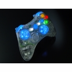 XCM Xbox 360 Wireless Controller Shell w/ New D-Pad & 2 LED Sticks - Crystal w/ Blue LEDs