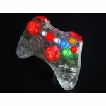 XCM Xbox 360 Wireless Controller Shell w/ New D-Pad & 2 LED Sticks - Crystal w/ Red LEDs