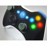 XCM Xbox 360 Wireless Controller Shell w/ New D-Pad - Smooth Black Top / White Bottom