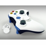XCM Xbox 360 Wireless Controller Shell w/ New D-Pad - Smooth White Top / Black Bottom