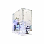 Logisys Pre-Assembled Clear Acrylic Case with 3 Blue LED Fans