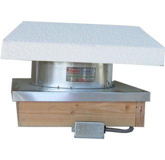 QC Manufacturing RMES-2200CRB Flat Roof Mount 2,245 CFM Fan with Curb and 16 Inch Duct Collar  -  Click to Enlarge