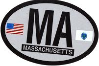 Massachusetts Reflective Oval Decal