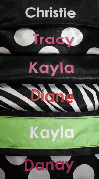 Customized Salon Apron Black with Zebra Print pocket and Pink name