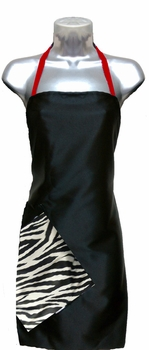 Black + Zebra Red Stylist Apron<font size=2.5>