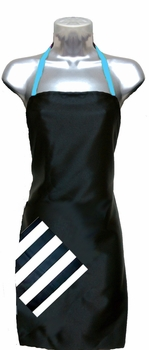 black + stripe + blue topaz Salon Apron<font size=2.5>
