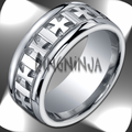 10MM Argentium Silver Carved Celtic Cross Pattern Men's Ring