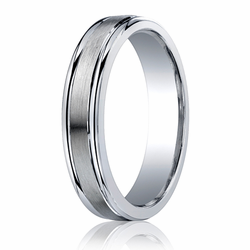 Argentium Silver Ring 5MM Brushed Center Wedding Band