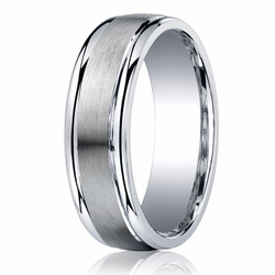 Argentium Silver Men's Ring 7MM Brushed Center Wedding Band