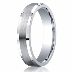 Argentium Silver 5MM Beveled Edge Brushed Center Wedding Ring