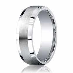 Argentium Silver 7MM Beveled Edge Brushed Center Unisex Wedding Ring