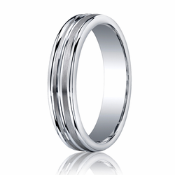 5MM Argentium Silver Ring w/ Brushed Center Lines