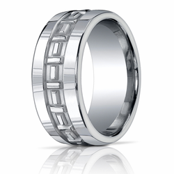 10MM Men's Argentium Silver Ring w/ Carved Center Pattern
