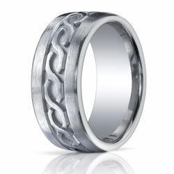 10MM Men's Argentium Silver Ring Carved Celtic Infinity Knot Wedding Ring