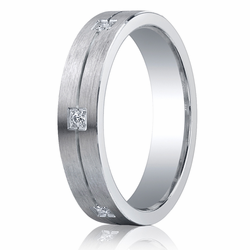 Argentium Silver 5MM Satin Finish Ring w/ Diamonds