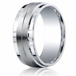 Argentium Silver Ring 9MM Grooved Stepped Wedding Ring w/ Brushed Center