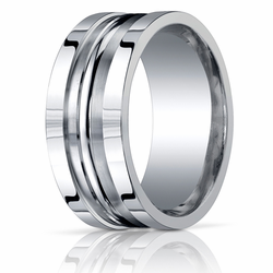 Argentium Silver 10MM Men's Ring Grooved Wedding Band