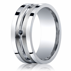 9MM Argentium Silver Ring w/ Satin Finish and Black Diamonds Wedding Band