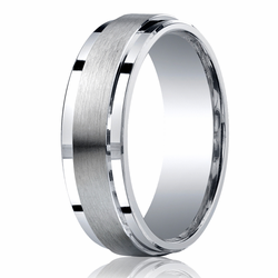 7MM Argentium Silver Ring Stepped Edge Unisex Wedding Band