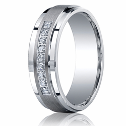 7MM Argentium Silver Wedding Ring Stepped Edge w/ Channel Set Diamonds