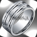 Argentium Silver 10MM Wide Brushed Men's Ring w/ Two Grooves