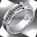 7MM Argentium Silver Wedding Ring Stepped Edge w/ Channel Set Black Diamonds