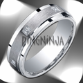 7MM Argentium Silver Ring Stepped Edge w/ Diamonds Wedding Band
