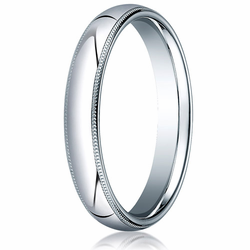 4MM Classic Domed 10K White Gold Milgrain Comfort Fit Ring