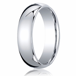 6MM Classic Domed 10K White Gold Comfort Fit Wedding Ring Men's or Women's