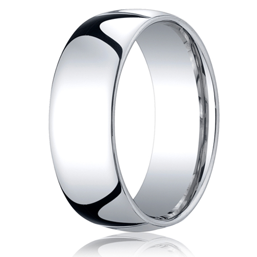 8MM Classic Domed 10K White Gold Comfort Fit Ring Bride or Groom