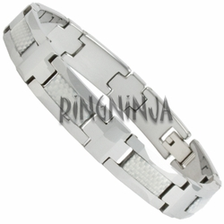 10MM Tungsten and White Carbon Fiber Bracelet