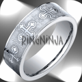 Benchmark 7.5MM Laser Etched Celtic Cross Cobalt Chrome Wedding Band