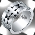 Benchmark 10MM Cobalt Chrome Ring Carved Cross Mens Ring