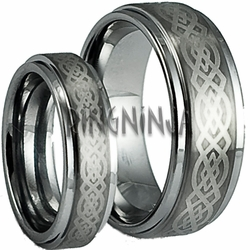 His and Her Celtic Stepped Edge Tungsten Wedding Ring Set