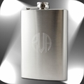 8oz Engraved Initials Stainless Steel Hip Flask & Funnel