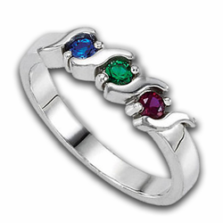 Custom Birthstone Ring for Mother's Sterling Silver Band